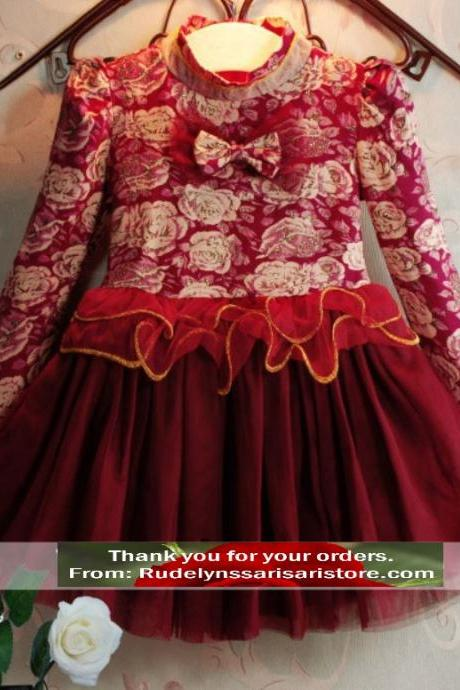 Elegant Red Dress with Turtleneck Collar Long Sleeve Floral Tutu Dress High Quality Dress for Toddler Girls