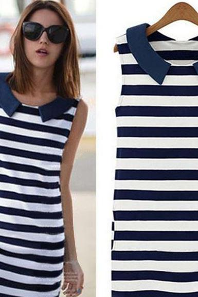 Navy Blue Tops for Women Stripe Casual Tops Tunic with Pocket Stripes Navy Blue Tops