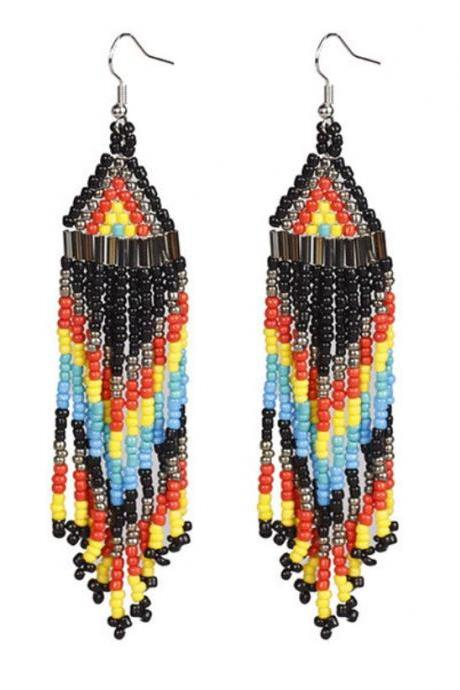 Black Drop Earrings Tribal Native American Indian Black Bead Earrings