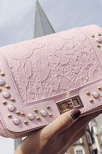 pink shoulder bags for women handbags for teenage girls lacy flap small bags