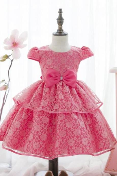 High Quality Pink Dress for Girls Embroidery Lace with Bowknot Birthday Gift, Christmas Gift Party Gift for Girls