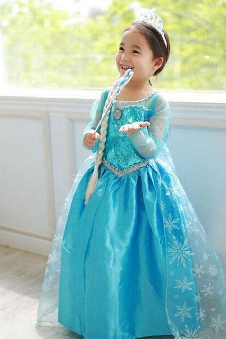 Girls Princess Elsa Dress Props Blue Toddler Dress with Necklace and Silver Tiara