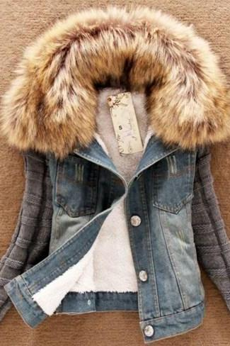 Medium Size Denim Jacket for Women with Detachable Thick Real Fur Lamb Collar