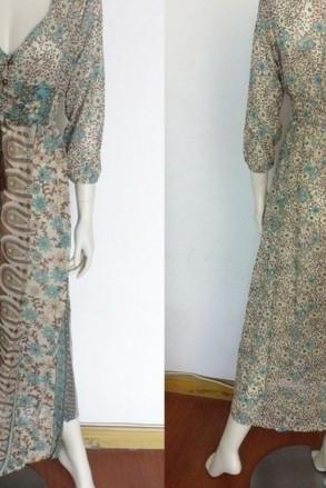 Turquoise Button Up Dress with Jacquard Bandana Prints Turquoise Maxi Dress