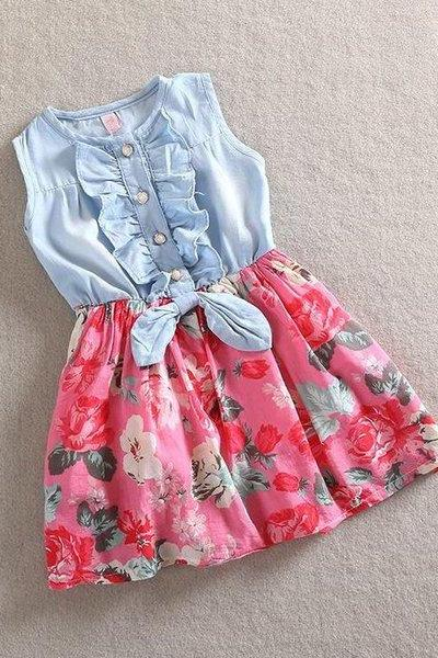 RSSLyn Hot Pink Girls Denim Dress Floral Prints Summer Spring Sleeveless Magenta Dress Toddler Girls Dress-Spring Dresses for Baby Girls Free Headband