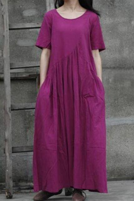 Purple Linen Dress Purple Maxi Dress for Women Fashion Dress Medium Purple Dress