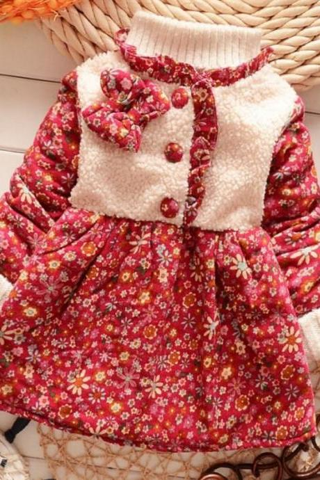 Red Dress for Girls Thick Cotton Dress Winter Outfit Dress Printed Infant Dress Red Trench Coats Girls Trench Coats