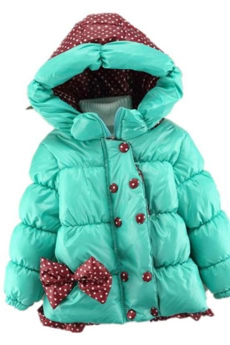 Blue Winter Coats for Girls Blue Polka Dot Jacket with Hood Hoodies for Girls Winter Blue Overcoat for Girls