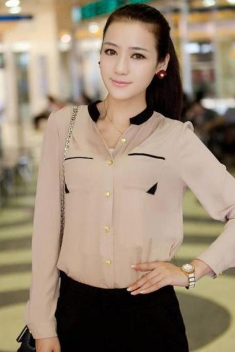 Solid chiffon Tops for Women Beige Long Sleeve Blouses Beige Blouse for Women