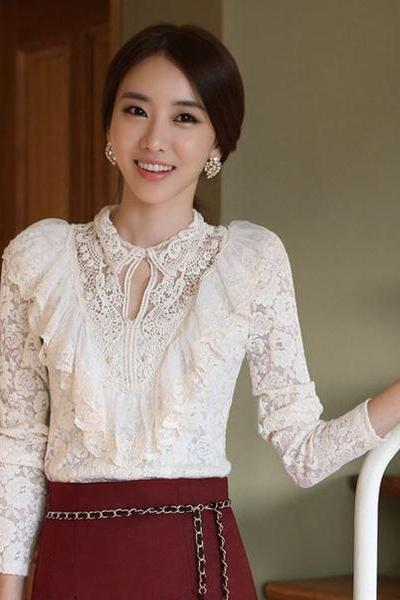 Medium White Blouse for Women Lacy Embroidery Long Sleeve Summer White Ruffled Blouses