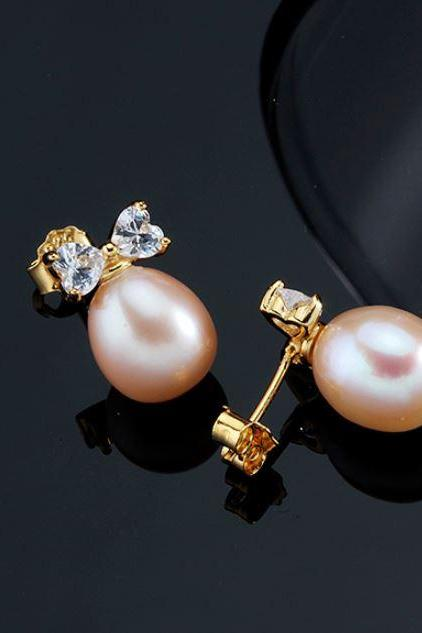 Fancy 18K Gold Earrings Peach Pearl Bow Earrings Pearl Earrings for Bridesmaids