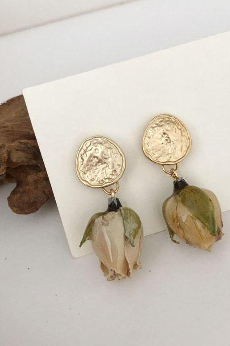 Fashion Earrings Real Rose Buds Ivory Earrings for Women Vintage Collection Bridal Earrings Ivory Earrings-Bridesmaids Jewelries