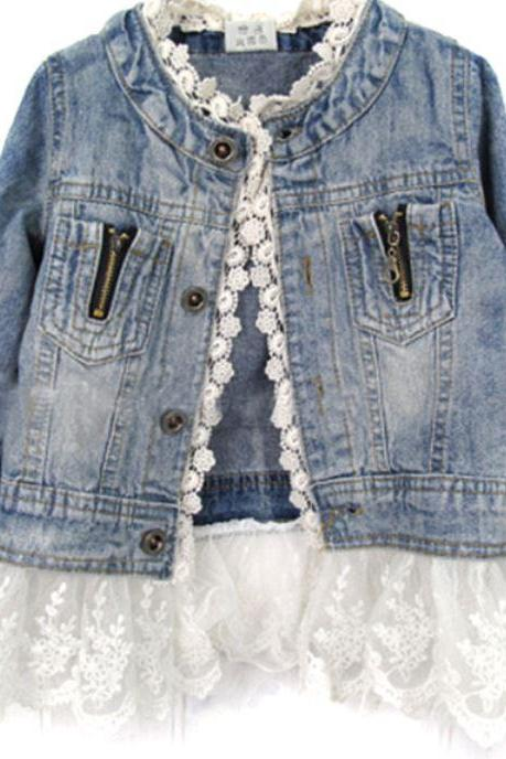 Denim Jacket for Girls Lace Hem Spring and Fall Denim Jacket
