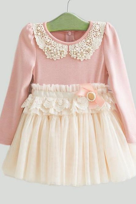 Pink Dress for Little Princesses Long Sleeve 5 Layers Ivory Tulle Pearls and Rhinestone Collar
