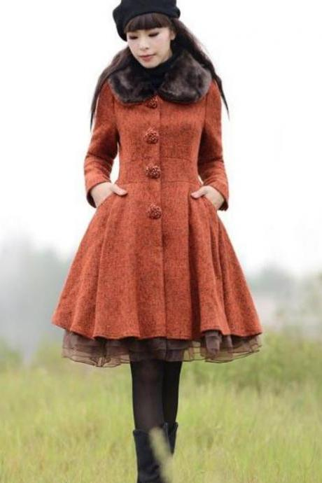 Red Coats Wool Made Plus Sizes with Lace Hem Long Overcoats 2XL,3XL Plus Sizes