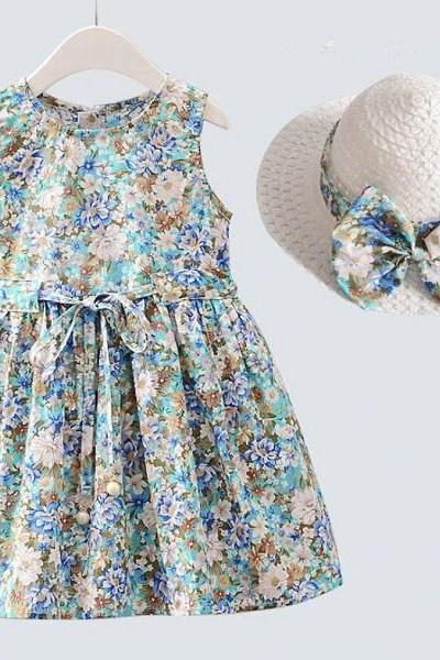 Blue Dress for Girls Thick Cotton Dress Winter Outfit Dress Printed Infant Dress Blue Trench Winter Coats Girls