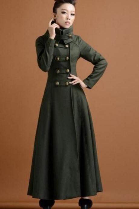 Green Double Breasted Woolen Overcoat Ultra Long Coat Paragraph Outerwear Slim Elegant Military Wind