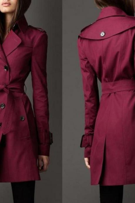 Red Trench Coat for Women Wind Breaker Fashion Style
