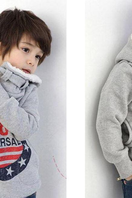 Ready to Ship Gray Sweaters Turtleneck with Hood for Toddler Boys Winter Sweater Jackets