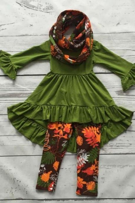 SALE 12-24 Months Scarf Ruffled Asymmetrical Blouse Pretty Green Tees Fall Thanksgiving Outfit Props