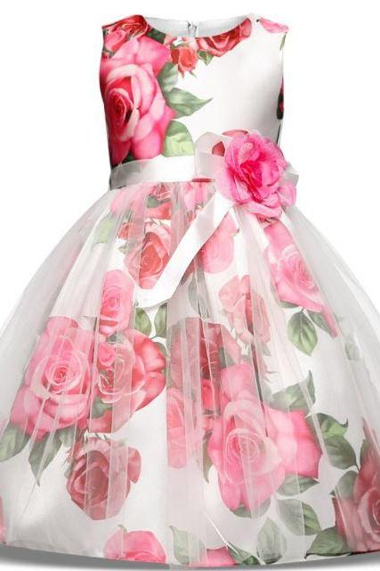 Red Dress for Red Spring and Summer Dress with Printed Rose Floral Dress