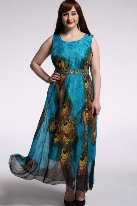 Peacock Maxi Dress for Women Plus Size 4XL,5XL,6XL,7XL Peacock Prints