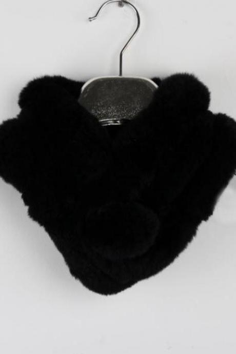 Black Neck Warmer for Women Winter Neck Protection Natural Rabbit Fur
