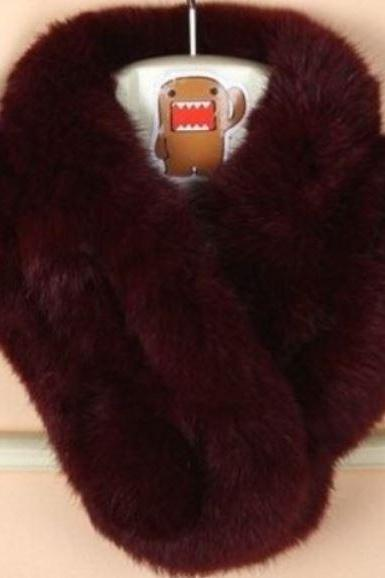Burgundy Neck Warmer for Women Winter Neck Protection Natural Rabbit Fur