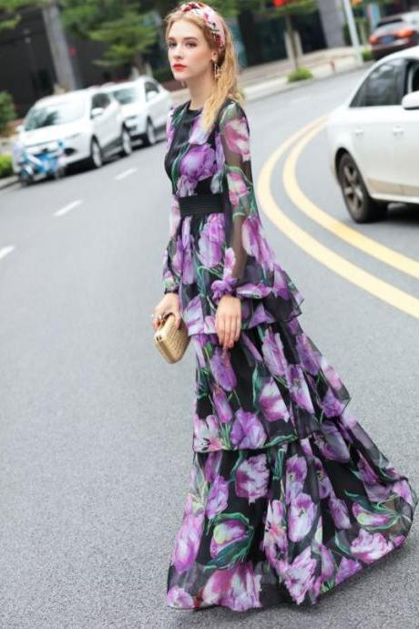 Fashion Dress for Women Purple Tiered Turkey Country Pageant Womens Fashion Style Printed Dress