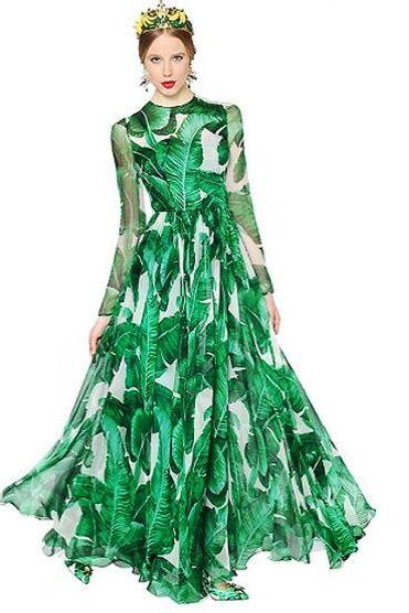 New Banana Leaves Pattern Green Maxi Dress Luxury Style Chiffon Dress RSS Boutique