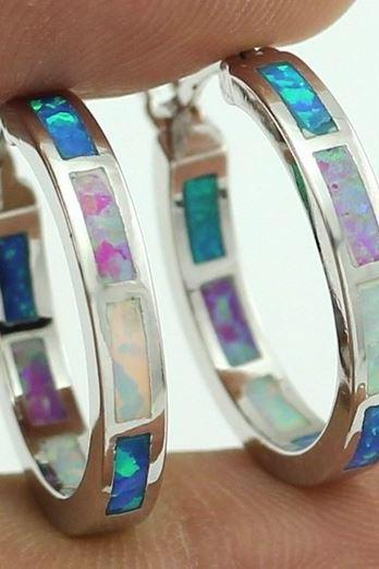 Synthetic Fire Opal Blue White Pink Earrings for Women Opal Hoop Earrings 20mm