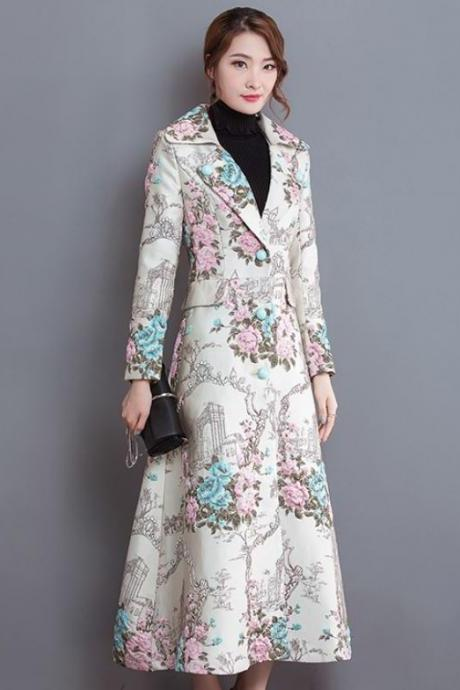 Floral Long Winter Trench Coats with Floral Prints Elegant Trench Coats