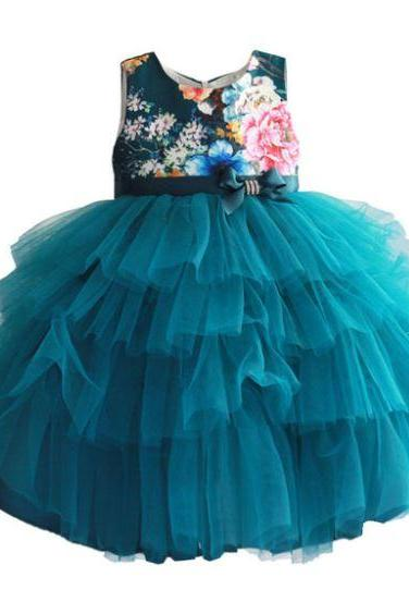 Green Dress for Toddler Girls Teal Green Color Sleeveless Formal Gown printed Floral Dress for Girls