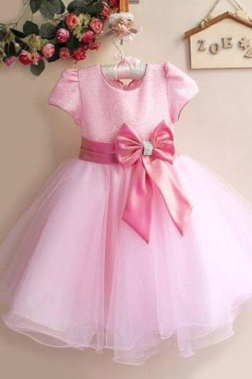 Puffy Short Sleeves Cute Pink Tutu dress for Girls with FREE Tiara or Headband