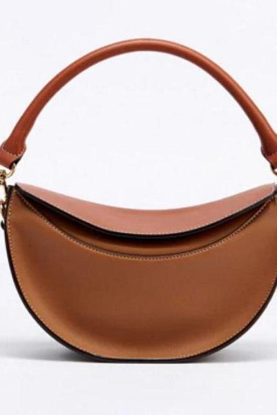 Rsslyn Unique Bags for Women Half Moon Shape Solid Brown Leather Bags for Phones Small Bags for Phone