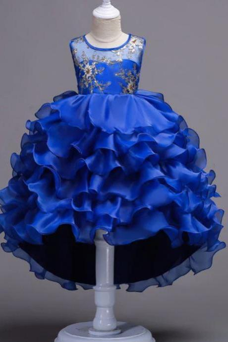 Elegant Royal Tutu Dress Royal Blue Dress with Tail Tiered and Multilayered Ballgown Party Dresses