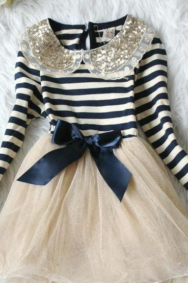 5T Navy Blue Stripe Dress for Infant Girls -Navy Blue Stripe Dress Girl- Free Shipping
