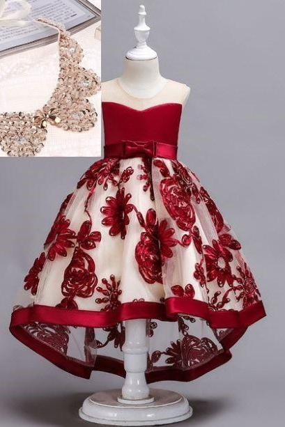 Red Trailing Dress for Girls with Fake Collar Necklace 5T Little Girls Christmas Dresses Ballgown Style