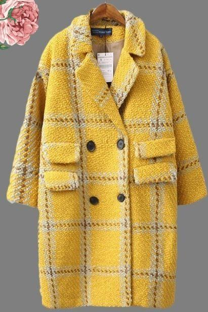 Tweed Wool Overcoats Yellow Blazer Warm Coats for Women Plus Sizes Clothing for Big Women