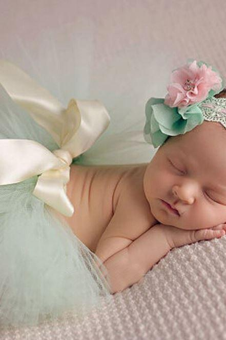 Mintgren Tutu Dress Newborn Props Headband and Mintgreen Tutu Skirt Outfit Baby