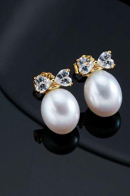 Gold White Earrings Rose Gold Earrings for Women Pearl 18K Gold Earrings