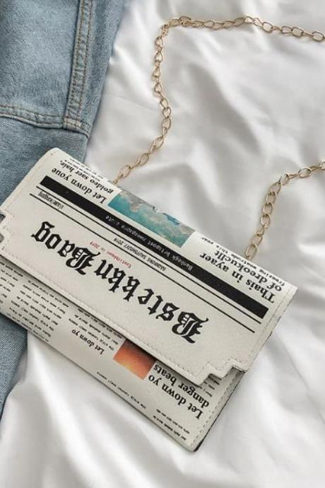 New Phone Bags Newspaper Shoulder Bags for Teenage Girls Newspaper Leather Messenger Bags Newspaper Bags for Phone Cases