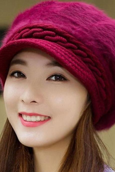 Red Wool Hat for Women Red Winter Beret Fashion Deep Red Berets