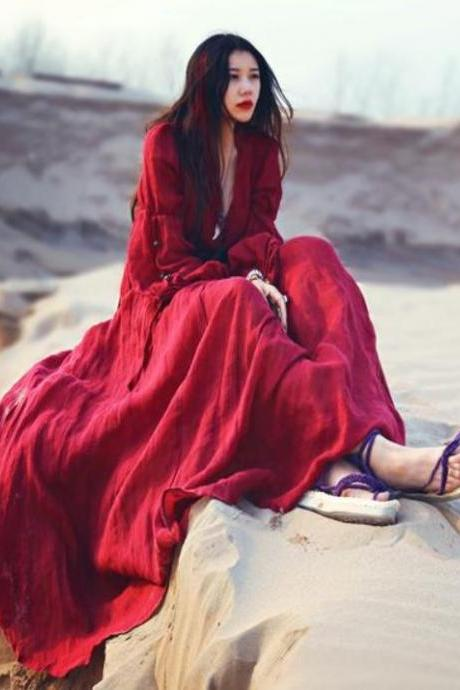 Red Dress Long Maxi Dress Photo Shoots Pageant Red Linen Maxi Dresses