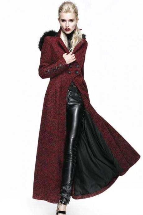 Plus Size 3XL Red Riding Hooded Wool Trench Coats for Women Long Trench Coats