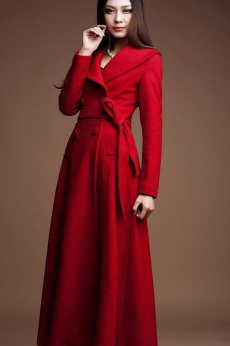 Red Maxi Dress Coat for Women Red Winter Jacket for Women Ultra Long Overcoats