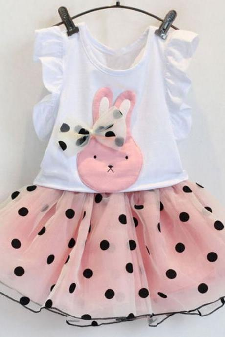 Pink Dress Polka Dots Rabbit Bunny Pink Dress with Bow Polka Dot Pink Dresses