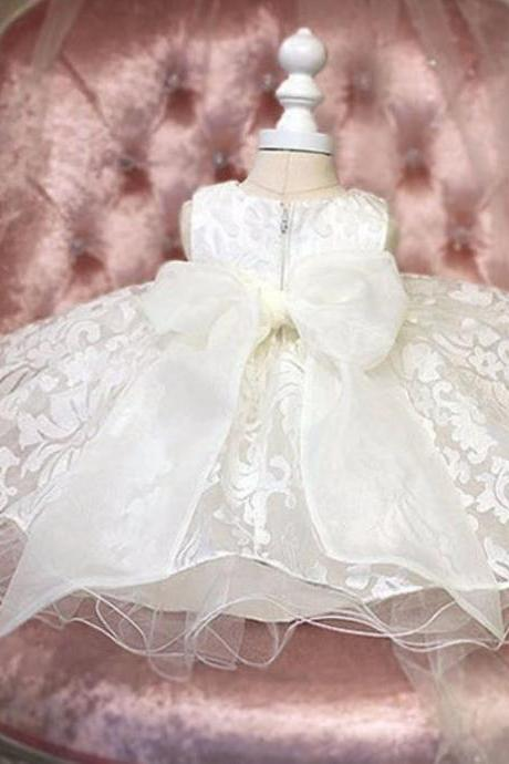 White Baby Dress Lace Embroidered Luxury Wedding Dress Paisley Design