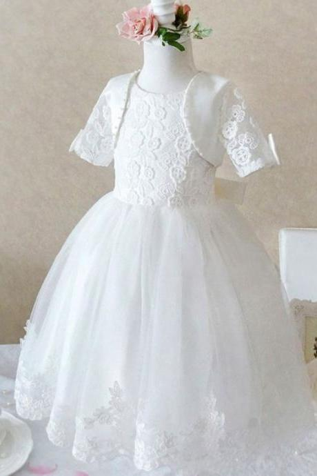 Girls White Dress for Flower Girls with Lace Bolero or Shrug Christening White Dress for Toddler Girls