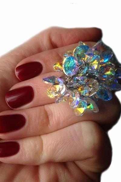 Multicolor Ring Radiance Gradient Stellux Austrian Crystal Adjustable Rings